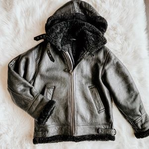 Jackets & Blazers - Vintage Leather Shearling Coat